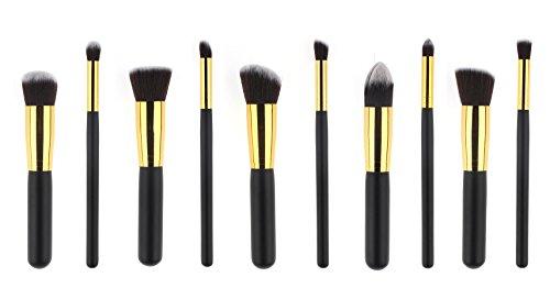 AKAAYUKO 10pcs Makeup Brush set Cosmétique Fondation Beauté Maquillage -Black & Gold