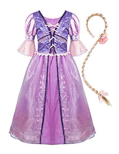 YiZYiF Mädchen Lange Haare Prinzessin Kostüm Festlich Puffärmel Tutu Kleid Partykleid mit Zopf Karneval Fasching Halloween Outfit Gr.98-128 Lavendel (Toddler Rapunzel Prinzessin Kostüm)