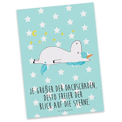 Mr. & Mrs. Panda Postkarte Einhorn Sternenhimmel - 100% handmade in Norddeutschland - Grußkarte, Einhörner, Pappe, Einhorn, Karte, Sternenhimmel, Unicorn, Dachschaden, Verrückt, Sterne, Postkarte, Karton