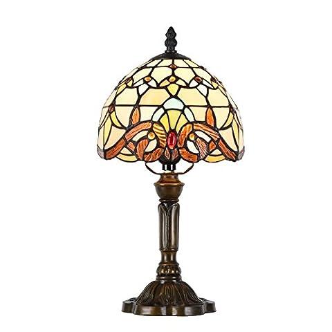 LIUSUN 8 Pouce Tiffany Lampe de Table Classique Européenne Baroque Vitrail Abajur Chambre Décoration Éclairage Led Mosaïques Marocain lampes de Bureau E27