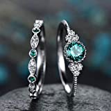 Bazhahei Anillo Copper-Plated Silver Micro-Embellished Emerald Ring 2 Unids Brillante Anillo de Piedras Preciosas Naturales Conjunto Mujer Esmeralda Anillos de Bodas de Zafiro