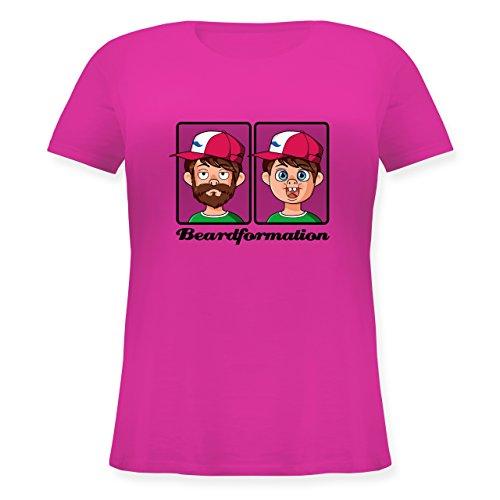 Statement Shirts - Beardformation - Lockeres Damen-Shirt in großen Größen mit Rundhalsausschnitt Fuchsia