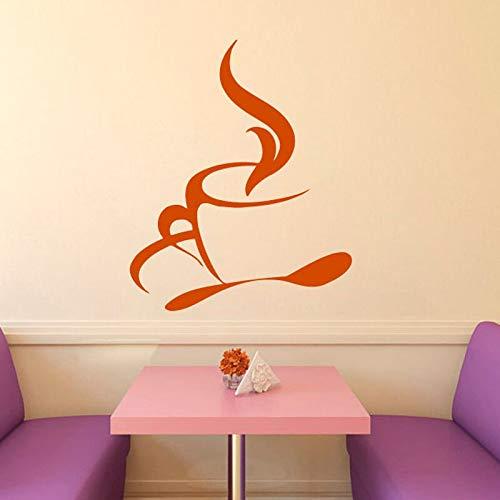 Heißer Kaffee Tee Tasse Löffel Küche Cafe Interior Design Home Wand Vinyl Aufkleber Aufkleber Kunstwand Kinderzimmer 44 * 33 cm ()