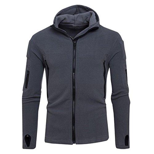 Preisvergleich Produktbild Hoodie Jacke Zipper Herren Btruely Winter Mode Männer Kapuzenpullover Langarm Mit Kapuze Mantel Männer Hooded Sweatshirt Retro Outwear (M,  Dunkel Grau)