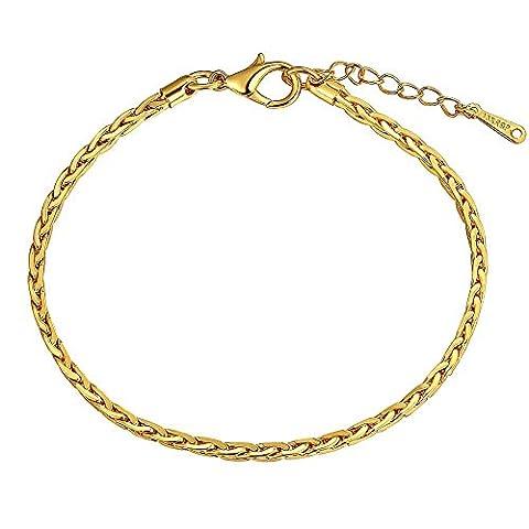 Bracelet chaîne et gourmette Doré or jaune 750/00 18K carats Bijou fantaisie haut de gamme Femme Jaune Chaîne Beverly