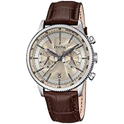 Festina RETRO Men's Quartz Watch with Beige Dial Chronograph Display and Brown Leather Strap F16893/7