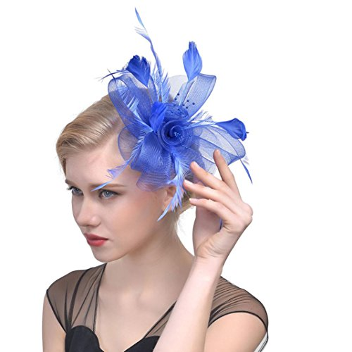 b376064832e4a Moonuy Femmes Fleur Mesh Rubans Plumes Bandeau Cocktail Tea Party Headwear  Jockey Club Chapeau de banquet