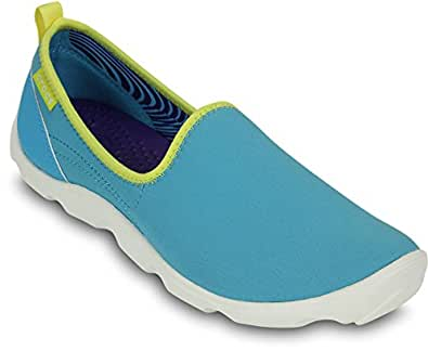 Crocs Women's  Duet Busy Day Skimmer Electric Blue and White Rubber Sneakers - W4