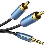 MillSO Cinch Audiokabel 3m Klinke auf Chinch Stereo Audio Aux 3,5mm Klinke zu 2 RCA Kabel (Vergoldet Metall Stecker, Doppelte Schirmung)