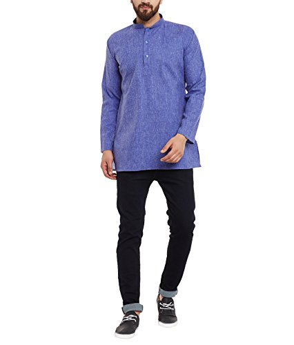 Royal Sojanya Men's Cotton Linen Blend XX-Large Indigo Blue (Linen-blend T-shirt Top)