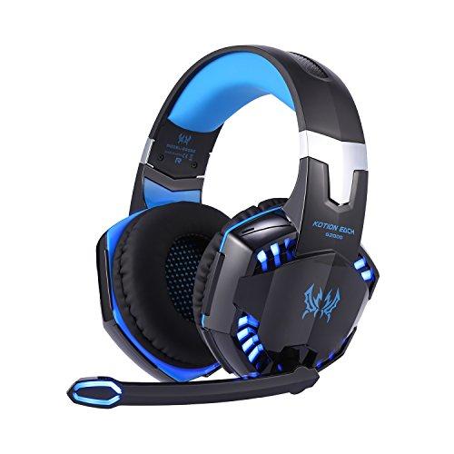 Homgrace Multi-Plattform Gaming Headset G2000 USB Kopfhörer mit Mikrofon Lautstärkeregelung und LED-Licht für PS4 Xbox One Nintendo Switch PC Laptop Tablet Smartphone Jabra Bluetooth Mic