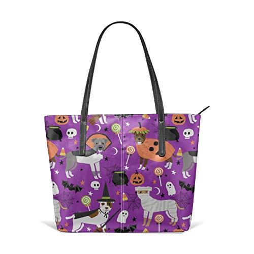 hulili Frauen weiches Leder Tote Umhängetasche Pitbull Halloween Kostüm Hund niedliche Hunde Candy lustige Haustier lila Mode Handtaschen Satchel Geldbörse