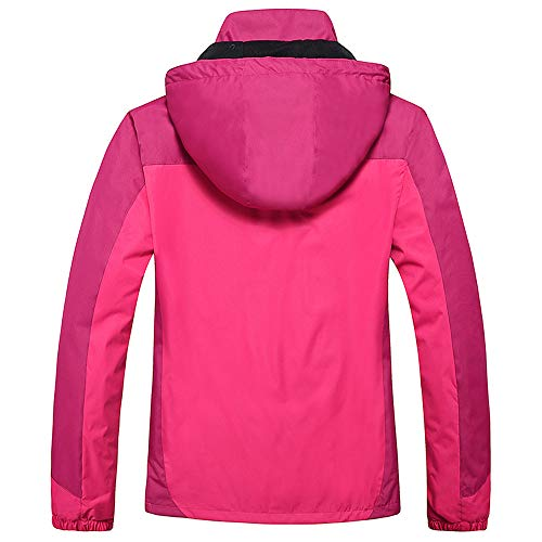 AIni Damen FrüHling Herbst Outdoor Hoodie Reißverschluss Hut Abnehmbare Sport Assault Coat Warm Mäntel Coat Jacke 2019 Neuheit(XL,Pink) (Goose Hut Canada)