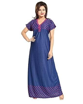 Tucute Women's / Girls Denim Print Base with Polka Dot's Nighty / Nightdress / Night Gown (Denim Red) 1318