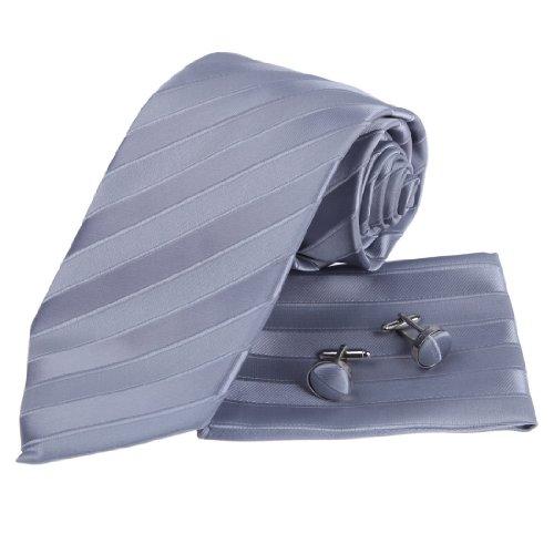 PH1019 progettista ha ispirato argento righe jacquard in seta Fazzoletti da uomo Cravatta Gemelli con il cofanetto regalo By Epoint