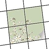 creatisto Küchenfliesen | Klebe-Sticker Aufkleber Folie Fliesen-Dekor Bad-Folie Badgestaltung | 15x15 cm Design Motiv White Blossoms - 4 Stück