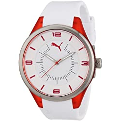 Puma Motorsport Fusion - Small Unisex Quartz Watch with White Dial Analogue Display and White Plastic or PU Strap PU911002002