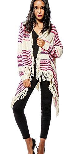 Damen Strickjacke Poncho mit Mexiko Ethno Muster und Fransen lang in DREI, Farbe:Pink, Größe:Einheitsgröße