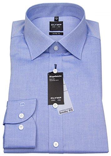 Olymp Hemd Level 5 Five New York Kentkragen in Extra langer Arm (69cm) Besonders bügelleicht, Blau (Hellblau), Gr. 46