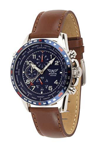 Aviator AVW78420G388 - Orologio cronografo da uomo, con cinturino in pelle...