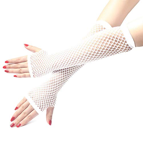 Zolimx Damen Mädchen Fischernetz Fingerlose lange HandschuheNeon Sexy Lange Fingerlose Fischnetz Spitze Hohe Elastizität Handschuhe