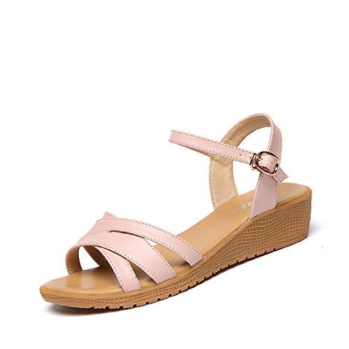 XY&GKSommer Sandalen Frauen mit flachem Boden Freizeitaktivitäten Hang mit einer Reihe von Frauen Sandalen, komfortabel und schön 36 pure Pink