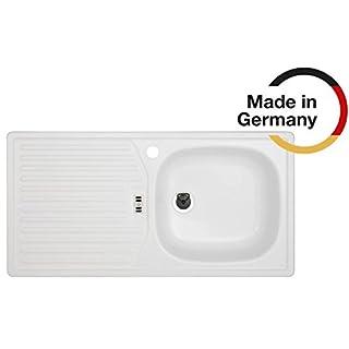 Rieber Einbauspüle E 86 K weiss Becken rechts Küchenspüle MADE IN GERMANY 860x435 mm korrosionsbeständig und lichtecht Emaillierte Spüle 1 Becken mit Abtropffläche Spülbecken Zubehör Unterschrankbreite 45 cm