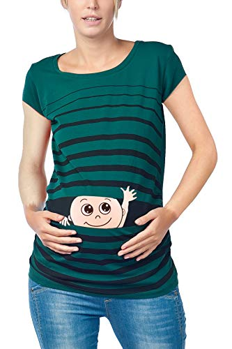M.m.c. ciao ciao - premaman abbigliamento donna magliette premaman t-shirt divertente gravidanza - maniche corte maternità (verde scuro, large)