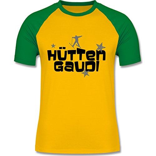 Shirtracer Après Ski - Hüttengaudi Skifahrer - Herren Baseball Shirt Gelb/Grün
