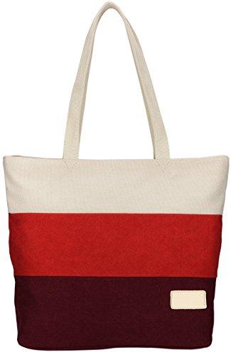 DCCN Canvas Tasche Shopper Segeltuchtasch Rot Einkaufstasche Segeltuchtasche Groß Handtasche Tasche 32 x 33 x 15cm -