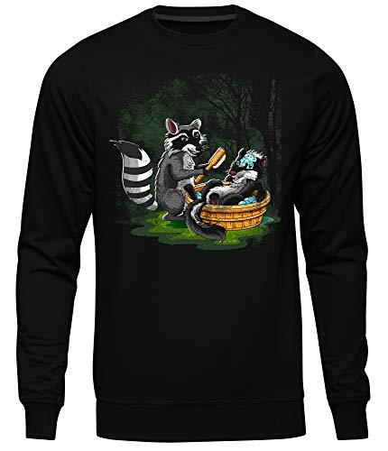 Waschbär vs Stinktier Männer Herren Pullover | Kostüm Tier Fasching Karneval Rocket Funshirt (XXL)