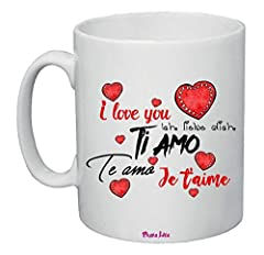Idea Regalo - Tazza Mug 8x10 Scritta Ti Amo i Love You Je T'Aime Idea Regalo San Valentino