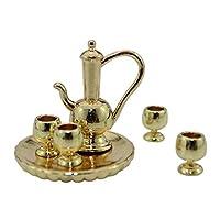 qingsb 1:12 Gloss Miniature Cups Kettle Plate Tea Set Simulation Model Doll Accessories - Golden