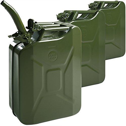 Monzana 3X Benzinkanister | 20 L | inkl. Ausgießer | UN-Zulassung | Metall | Diesel Kraftstoffkanister Kanister Behälter