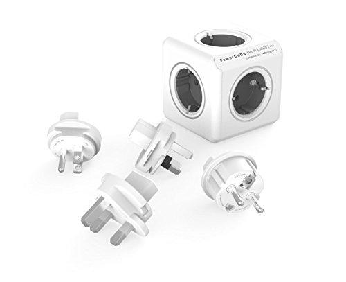 Travel-Cube ReWirable Original, Power-Würfel mit 5 Steckdosen, Mehrfach-Steckdose mit Reise-Adapter für DE/FR, UK USA AUS, ohne Kabel, grau-weiß