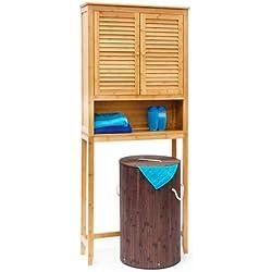 Relaxdays Lamell bambú Lavadora Armario, Suelo Unidad de Almacenamiento, Armario de baño con Puertas con alas y 3estantes, Madera, Natural marrón, 170x 70x 22,5cm