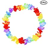 #3: LUOEM 5pcs Colorful Hawaiian Leis Necklace Flower Garland Tropical Luau Party Favors Beach Hula Costume Accessory