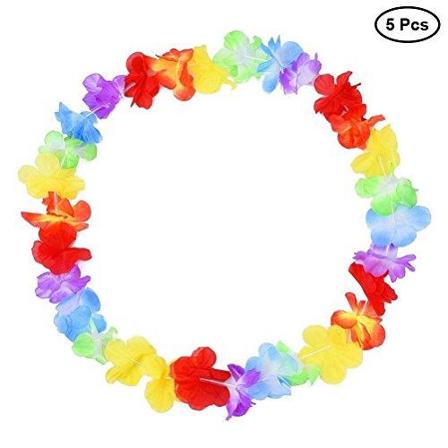 BESTOYARD 5 stücke Hawaiian Leis Halskette Blume Garland Tropische Luau Party Favors Beach Hula Kostüm Zubehör