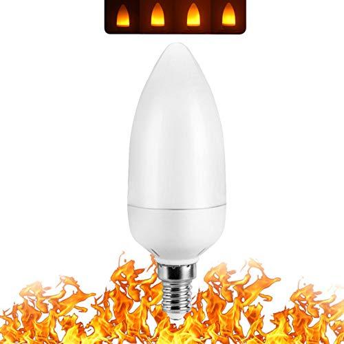 ZCLD 4 Pack Full Model 3W 5W 7W E27 E27 E27 E12 LED Flame Effect Bulb 85-265V LED Flame Effect Fire Bulbs Flickering Emulation Festival/Hotel/Bar Party Decoration LED Lamp, 3W ()