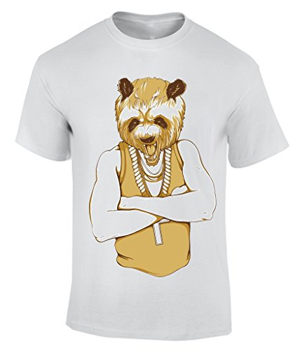 Gangsta Panda T-Shirt Herren Weiß