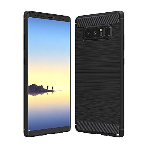 Anjoo Kompatibel für Samsung Galaxy Note 8 Hülle, Carbon Fiber Texture-Inner Shock Resistant-Weich und Flexibel TPU Cover Case für Samsung Note 8, Schwarz