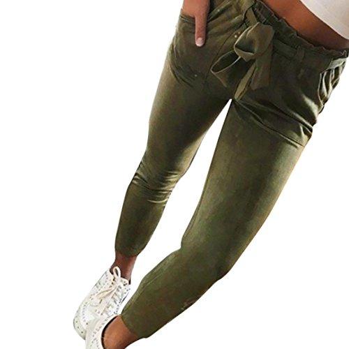 Damen Hosen Sommer LHWY Frauen High Waist Pluderhosen Lace Bowtie Elastische Dünne Freizeithosen Taille Beiläufige Lang Hosen Elegant mit Taschen (3XL, Army Green)