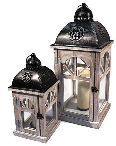 Noor 2er Set Laternen Wohn Zimmer Lichter Stand Dekoration Kerzen Halter Holz Creme gebürstet 61998 (Holz-laterne-kerze-halter)