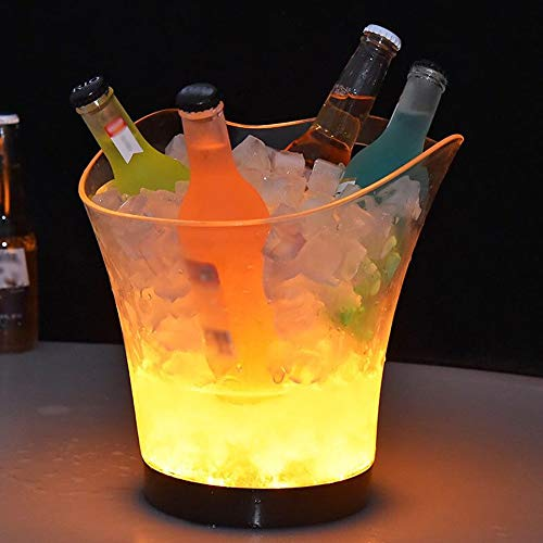 Lilideni DC3V 1W 5.5L Hohe Große Kapazität RGB-LED-Licht Lampe Eiskübel Eisige Barrel-Kurve Design Gelb 4 * AAA Batteriebetrieben für Home Party Bar Club Thema Restaurant Pub Wein Getränk Biersaft