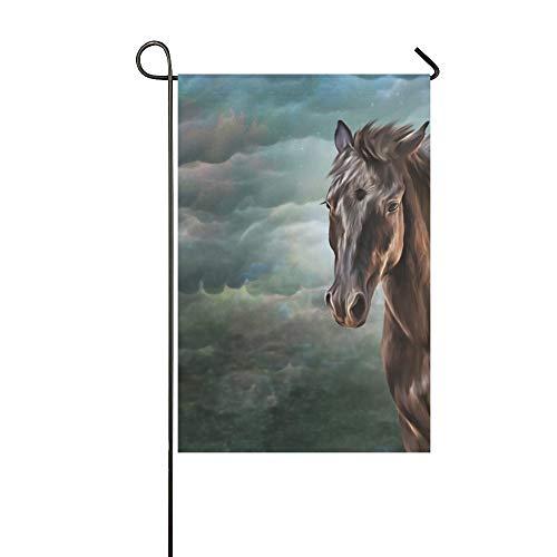 Home Dekorative Outdoor Doppelseitige Zeichnung Pferd Porträt Ölgemälde Auf Garten Flagge, haus Hof Flagge, garten Hof Dekorationen, saisonale Willkommen Outdoor Flagge Frühling Sommer Geschenk -