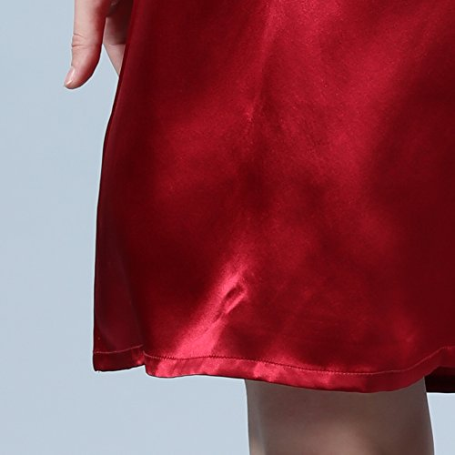 LULUSILK Damen 22 Momme Seide V-Ausschnitt Kurzarm Nachthemd Mini Nachtkleider, Weinrot, XXL -