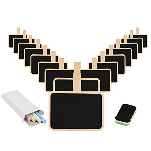 16 Pcs Tableau Noir Avec Pince, KAKOO Mini Ardoise Rectangle Avec Clip en Bois Blackboard avec Craie effaceur Pour Photo Tags Décoration Mariage
