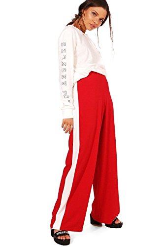 Femmes rouge Leona Pantalon Large Décontracté À Empiècement Contrasté Rouge