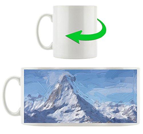 montagne couverte, Motif tasse en blanc 300ml céramique, Grande idée de cadeau pour toute occasion. Votre nouvelle tasse préférée pour le café, le thé et des boissons chaudes.