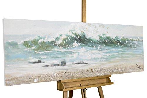 KunstLoft® cuadro acrílico 'Vamos a la Playa' 150x50cm | Original pintura XXL pintado a mano en lienzo | mar agua olas azul | Mural acrílico de arte moderno en una pieza con marco